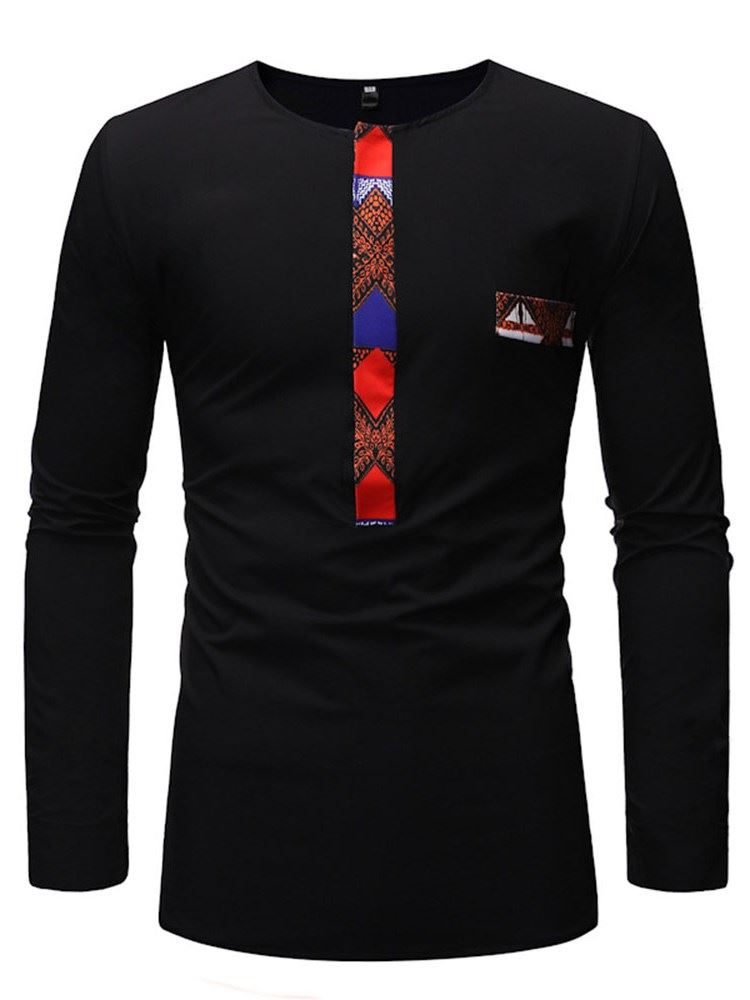 Patchwork Casual Round Neck Long Sleeve Mens T-Shirt