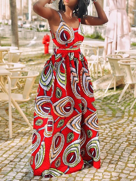 Floor-Length African Fashion Color Block Spaghetti Strap Women's Dress
