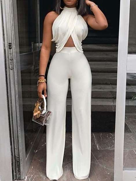 Date Night Full Length Patchwork Wide Legs Slim Women's Jumpsuit