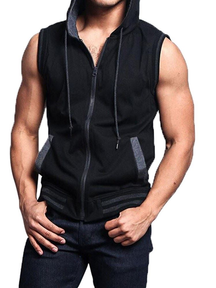 Hooded Color Block Loose Zipper Zipper Mens Vest