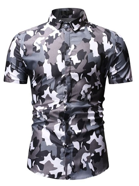 Camo Short Sleeve Slim Fit Men's Shirt