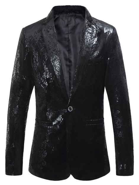 Black Floral One Button Notched Lapel Slim Men's Blazer