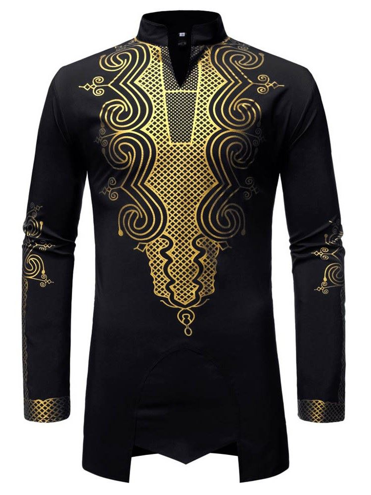 Dashiki Stand Collar African Fashion Mens Shirt фото
