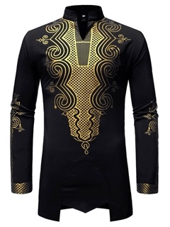 Dashiki Stand Collar African Fashion Men's Shirt 8