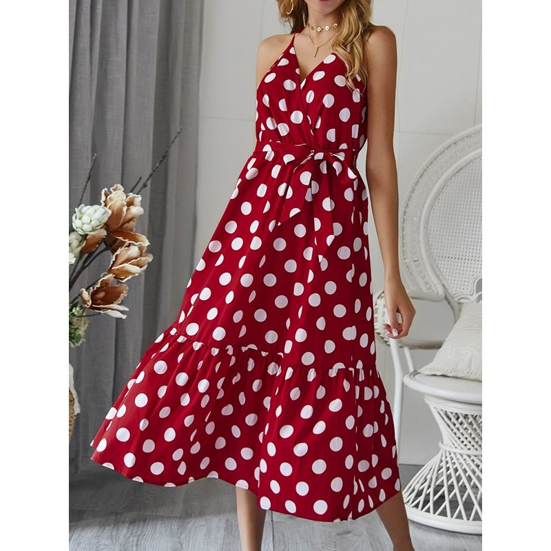 Mid-Calf V-Neck Backless Polka Dots Womens Maxi Dress