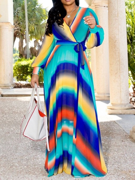 Print Floor-Length V-Neck Stripe Pullover Women's Maxi Dress