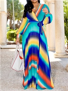 Print Floor-Length V-Neck Stripe Pullover Women's Maxi Dress 14