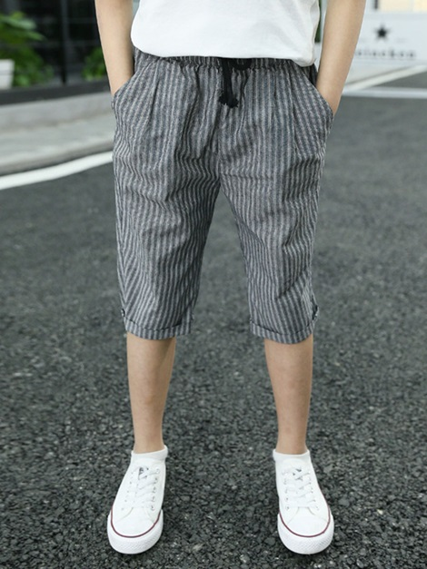 Boy's Cropped Trousers Lightweight Cotton Pants