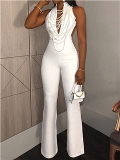 Sexy Plain Full Length High Waist Slim Women's Jumpsuit 5