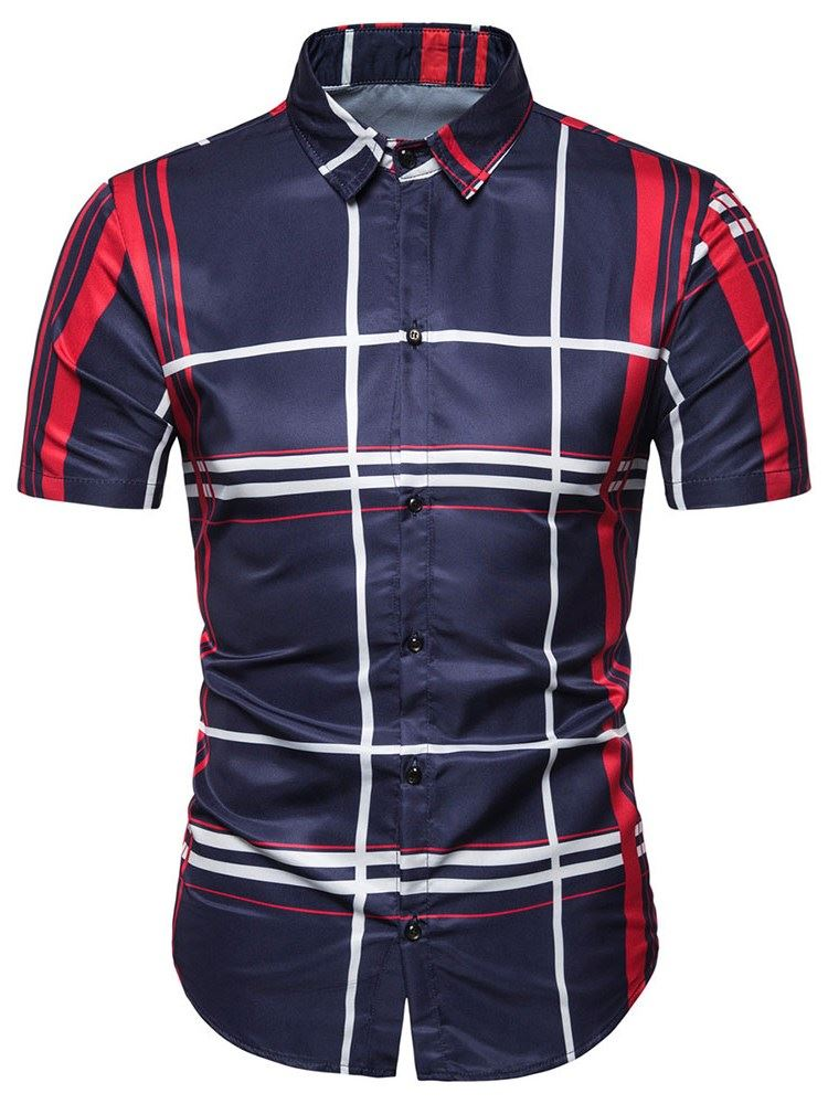 Lapel Color Block Stripe Summer Mens Shirt