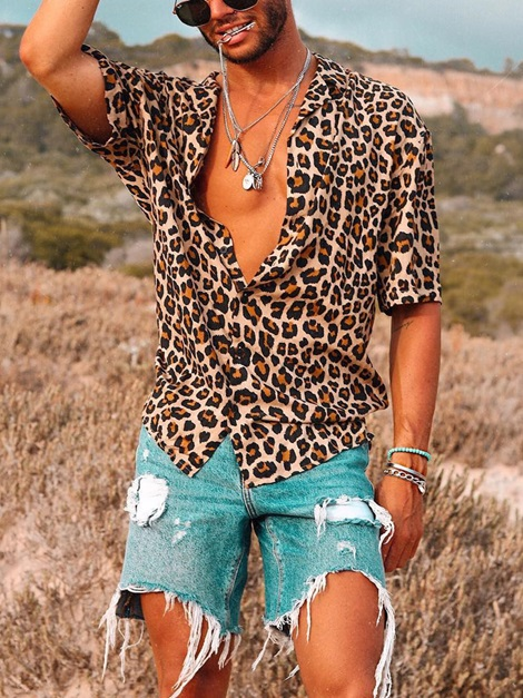 Leopard Short Sleeve Loose Men's Shirt