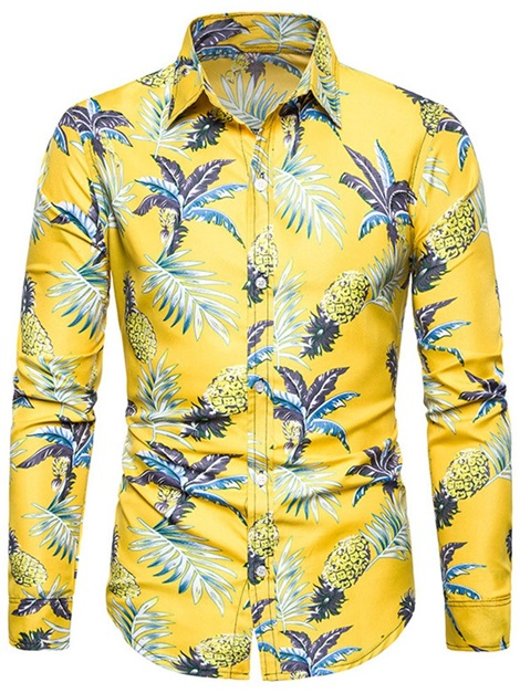 Floral Print Lapel Slim Men's Shirt