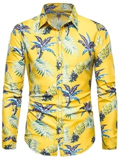 Floral Print Lapel Slim Men's Shirt 5