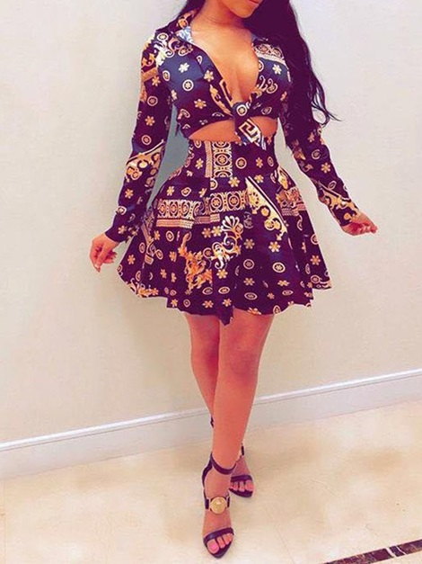 Print Skirt Pleated Women's Two Piece Set