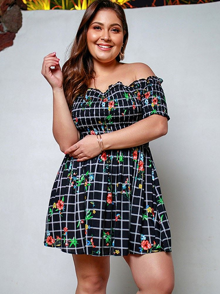 Plus Size Off Shoulder Above Knee Plaid Pullover Womens Dress