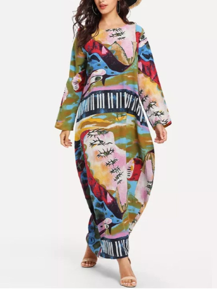 Long Sleeve Print Round Neck Color Block Pullover Womens Dress