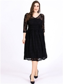 3/4 Sleeve Lace Knee-Length A-Line Plain Women's Dress