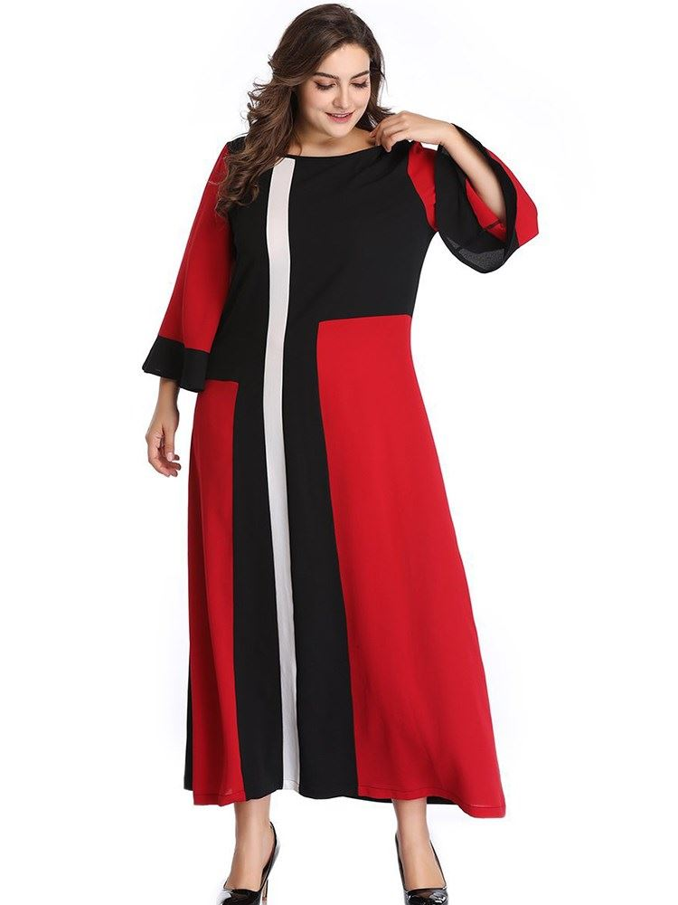 Plus Size Long Sleeve Ankle-Length Patchwork Pullover Womens Dress