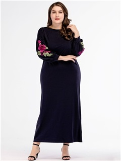 Long Sleeve Ankle-Length Embroidery Women's Dress 1