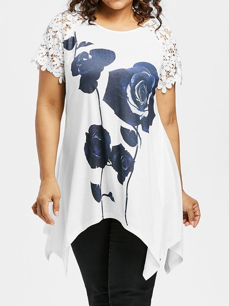 Plus Size Floral Hollow Mid-Length Women's T-Shirt