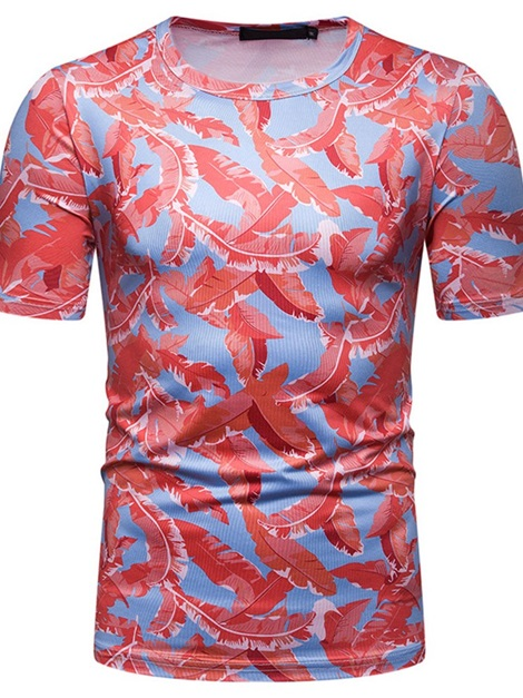 Color Block Round Neck Floral Print Men's T-shirt