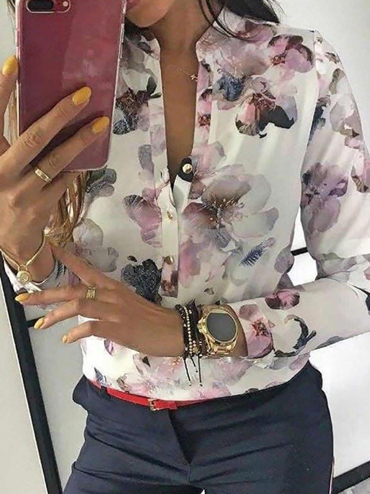 Stand Collar Floral Print Long Sleeve Womens Blouse