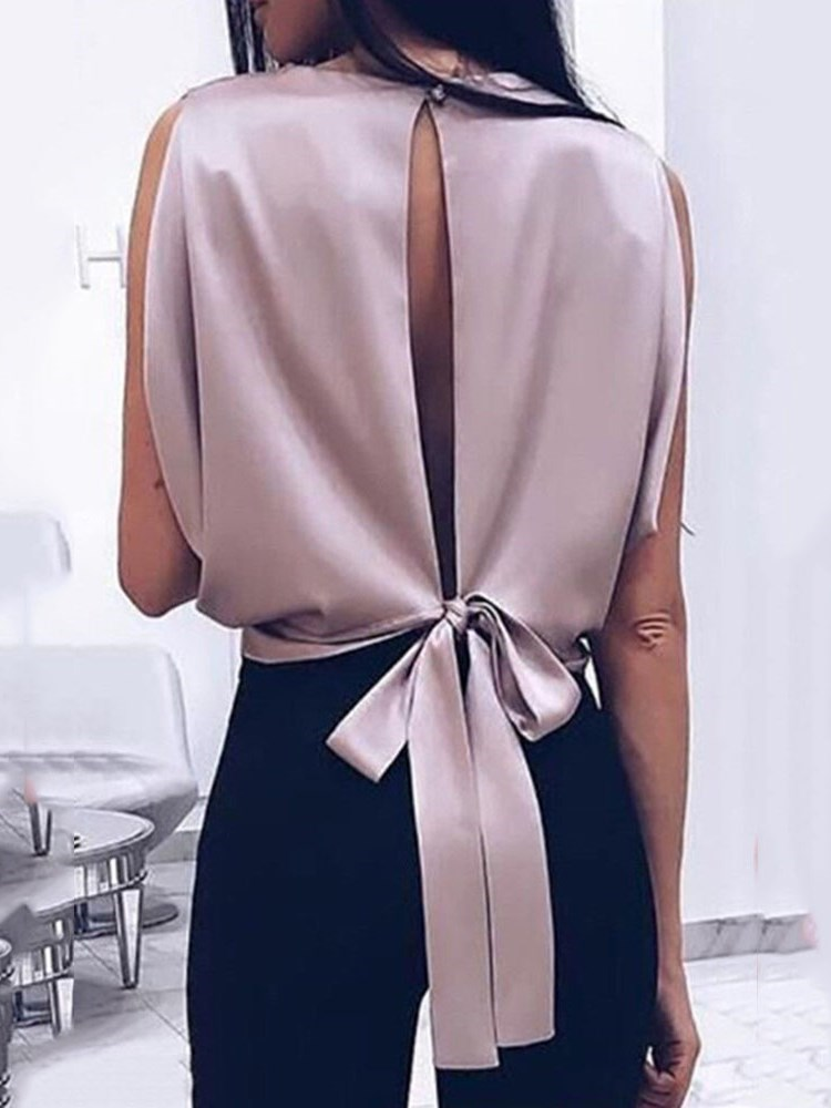 Bowknot Tie Plain Sleeveless Womens Blouse