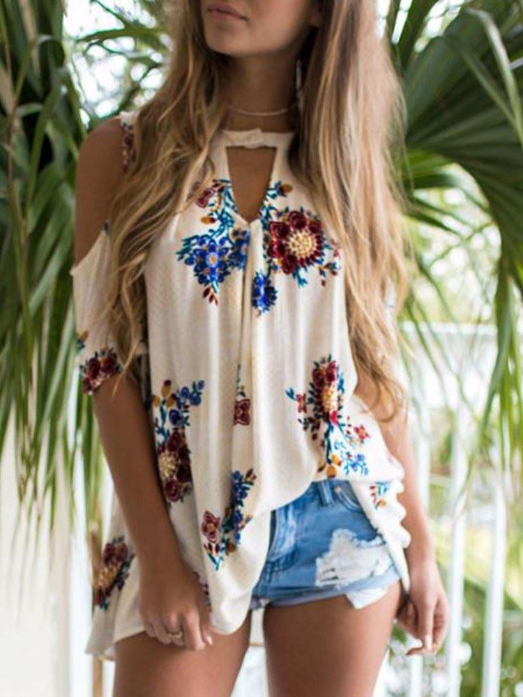 Floral Print Mid-Length Loose Womens Blouse фото