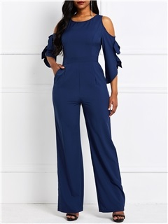 Patchwork Plus Size Slim Wide Legs Women's Jumpsuit 5