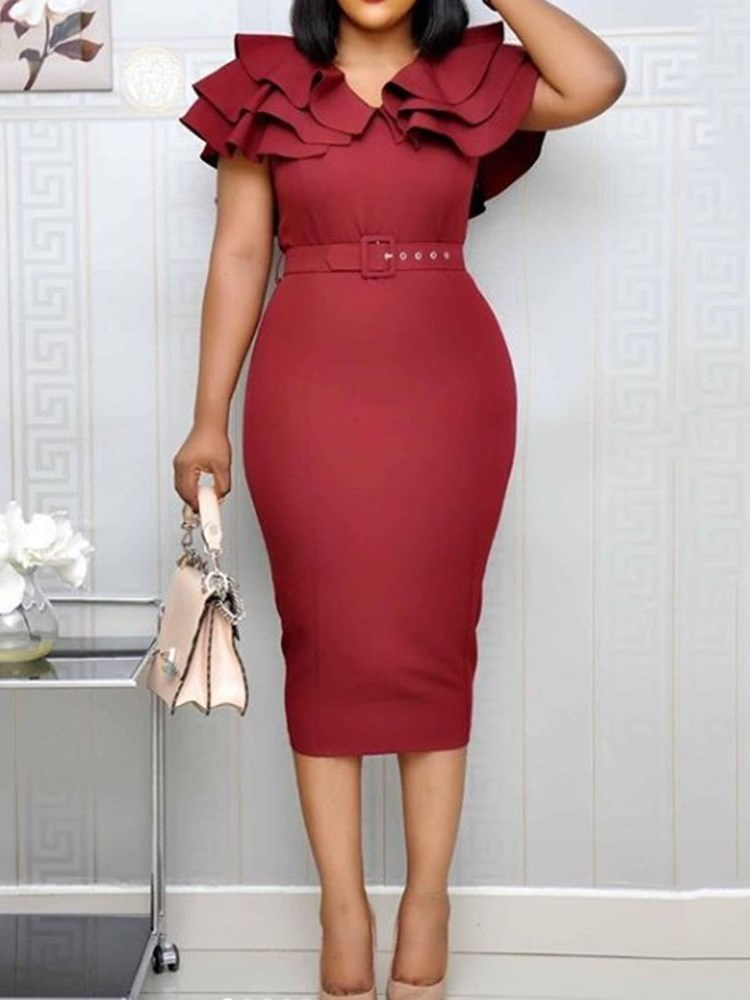Mid-Calf Split Pullover Ruffle Sleeve Womens Bodycon Dress