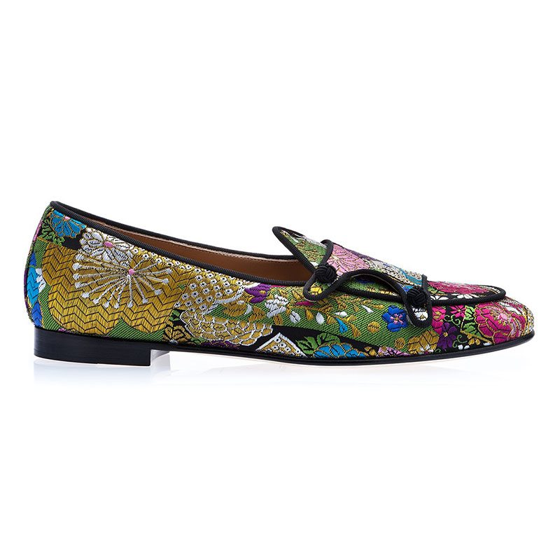 Customized Floral Slip-On Pointed Toe Mens Dress Shoes