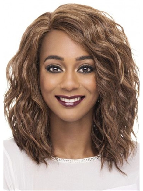 Women's Brown Color Mid Length Curly Synthetic Hair Capless Wigs 16inch