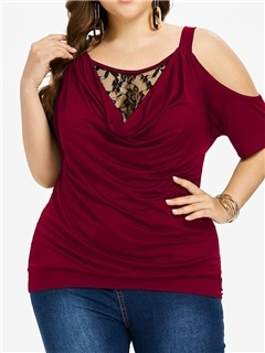 Plus Size Hollow Lace Women's T-Shirt