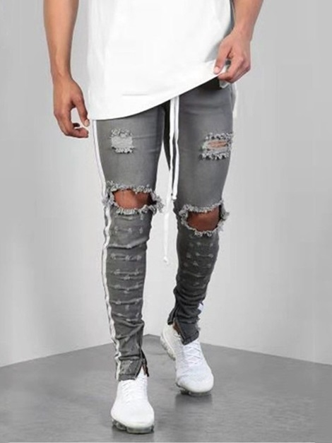 Hole Worn Color Block Thin Men's Ripped Jeans