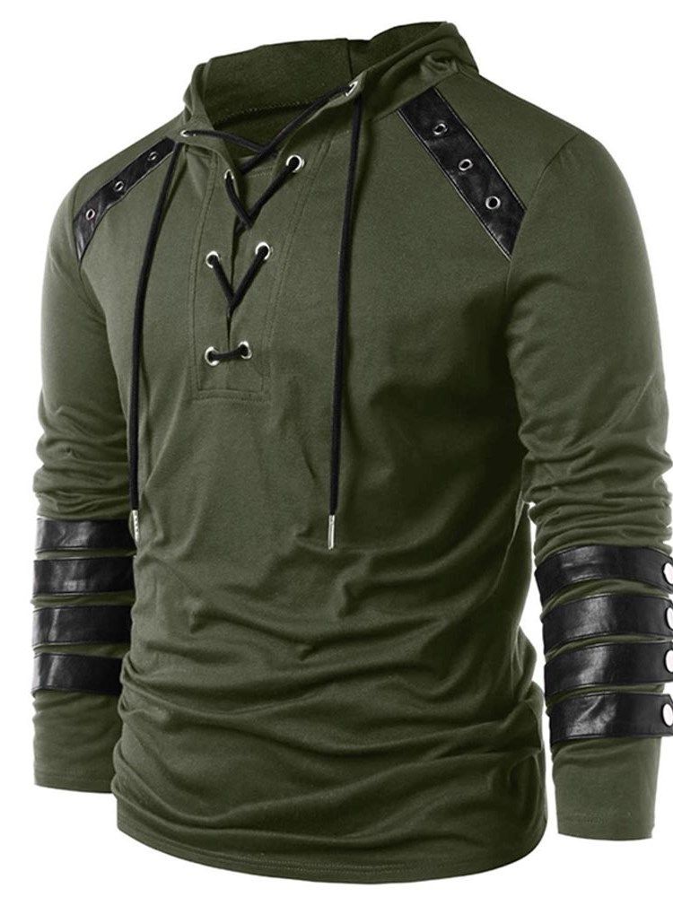 Hooded Patchwork Color Block Lace-Up Mens T-Shirt