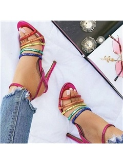 Open Toe Ankle Strap Buckle Patchwork Sandals 5