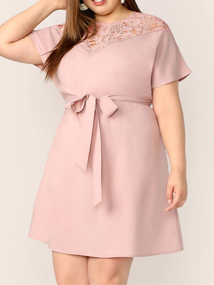 Plus Size Short Sleeve Round Neck Above Knee Womens Dress фото