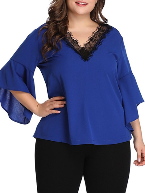 Plus Size Color Block V-Neck Flare Sleeve Women's Blouse