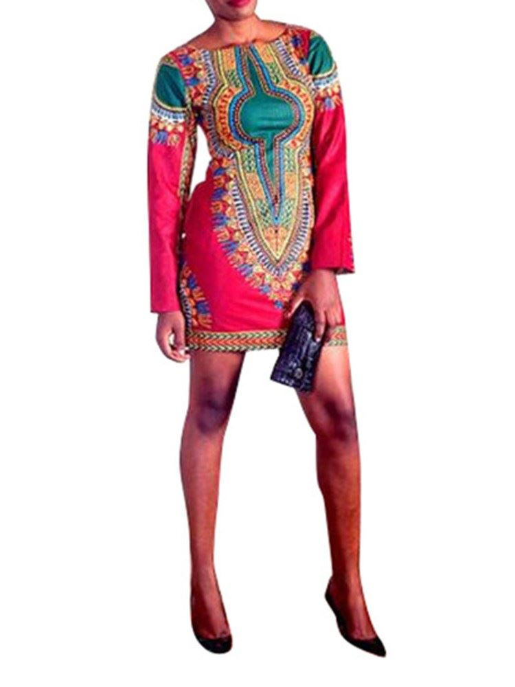 African Fashion Long Sleeve Above Knee Print Bodycon Womens Dress
