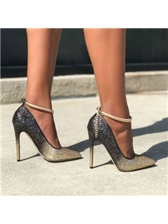 Stiletto Heel Sequin Pointed Toe Gradient Prom Shoes 2