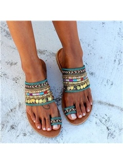 Sequin Block Heel Slip-On Vintage Women's Sandals