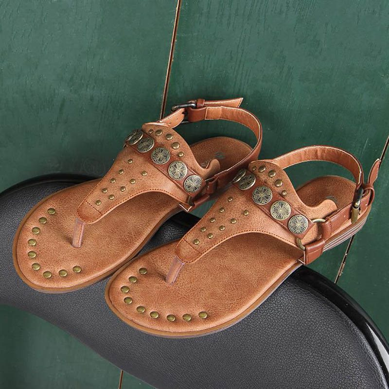 Thong Buckle Vintage Casual Womens Sandals