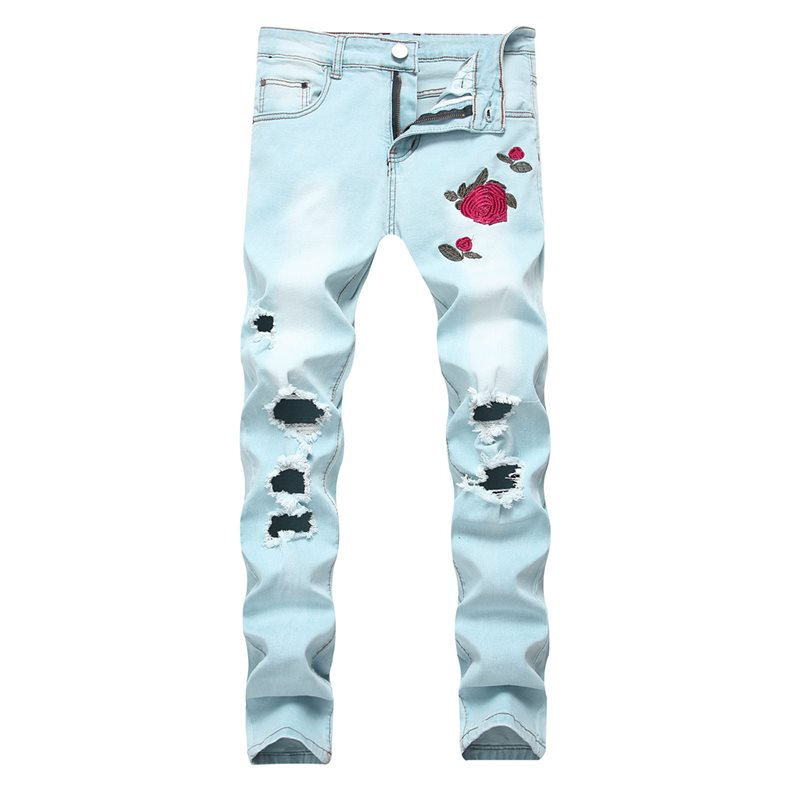 Hole Floral Embroidery Zipper Mens Jeans