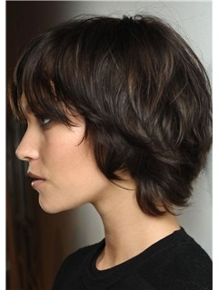 Women'S Short Shaggy Straight Human Hair Wigs Natural Looking Lace Front Wig 12inch
