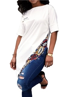Asymmetric Patchwork Half Sleeve Long Fashion Women's T-Shirt