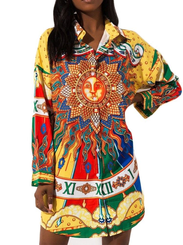 African Fashion Color Block Print Mid-Length Womens Blouse