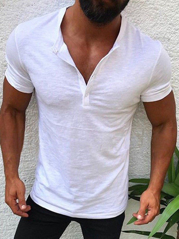 Plain Button Summer Short Sleeve Mens T-Shirt