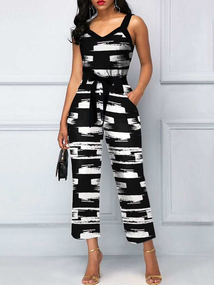 Ankle Length Print Casual Straight Loose Womens Jumpsuit