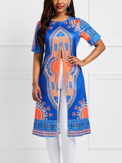 Dashiki Floral African Fashion Mid-Length Women's T-Shirt