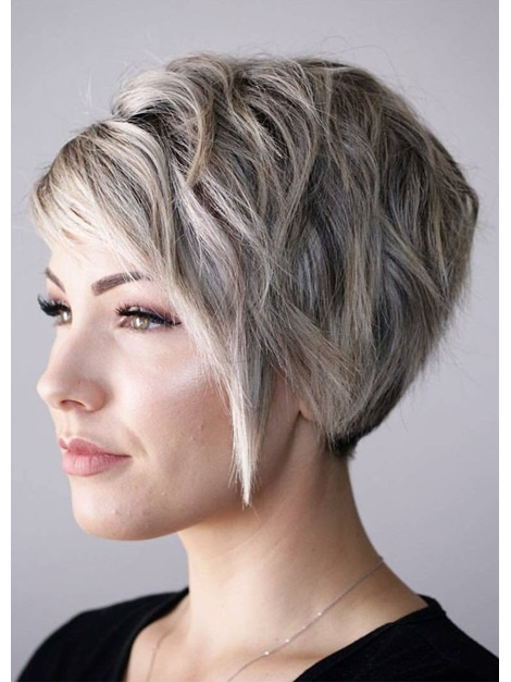 Blonde Color Women's Pixie Cut Capless Straight Synthetic Hair Wigs 12inches